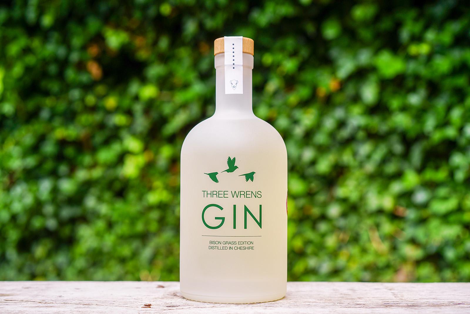 A bottle of Three Wrens Bison Grass Gin