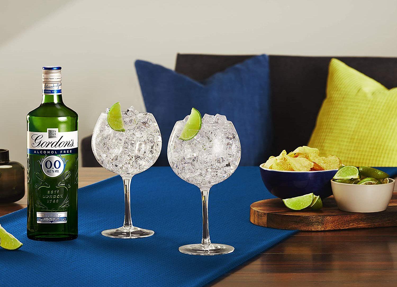 Gordon's 0.0% serve in gin glasses