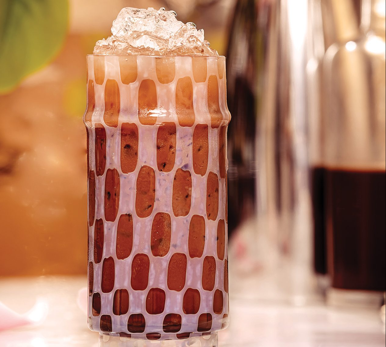 Creamy gin-based chocolate syrup ice cream cocktail