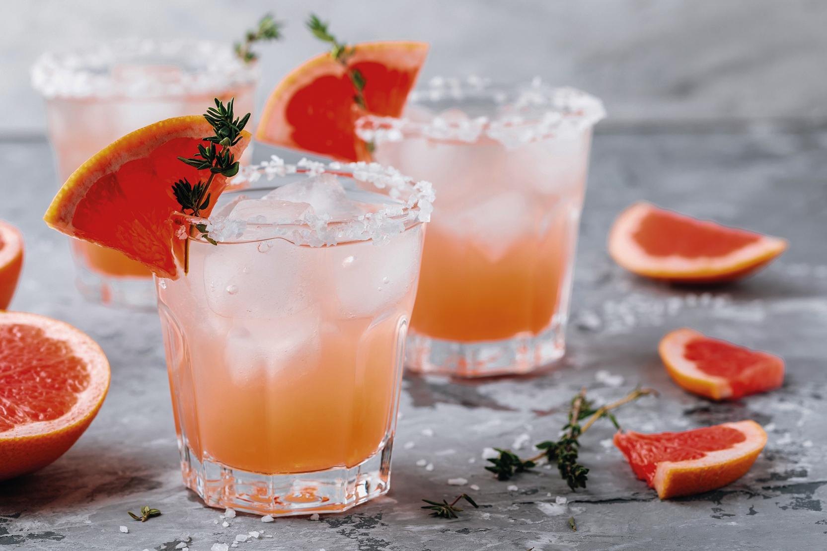 Gin cocktail Salty Dog with grapefruit juice and grapefruit wedge garnish