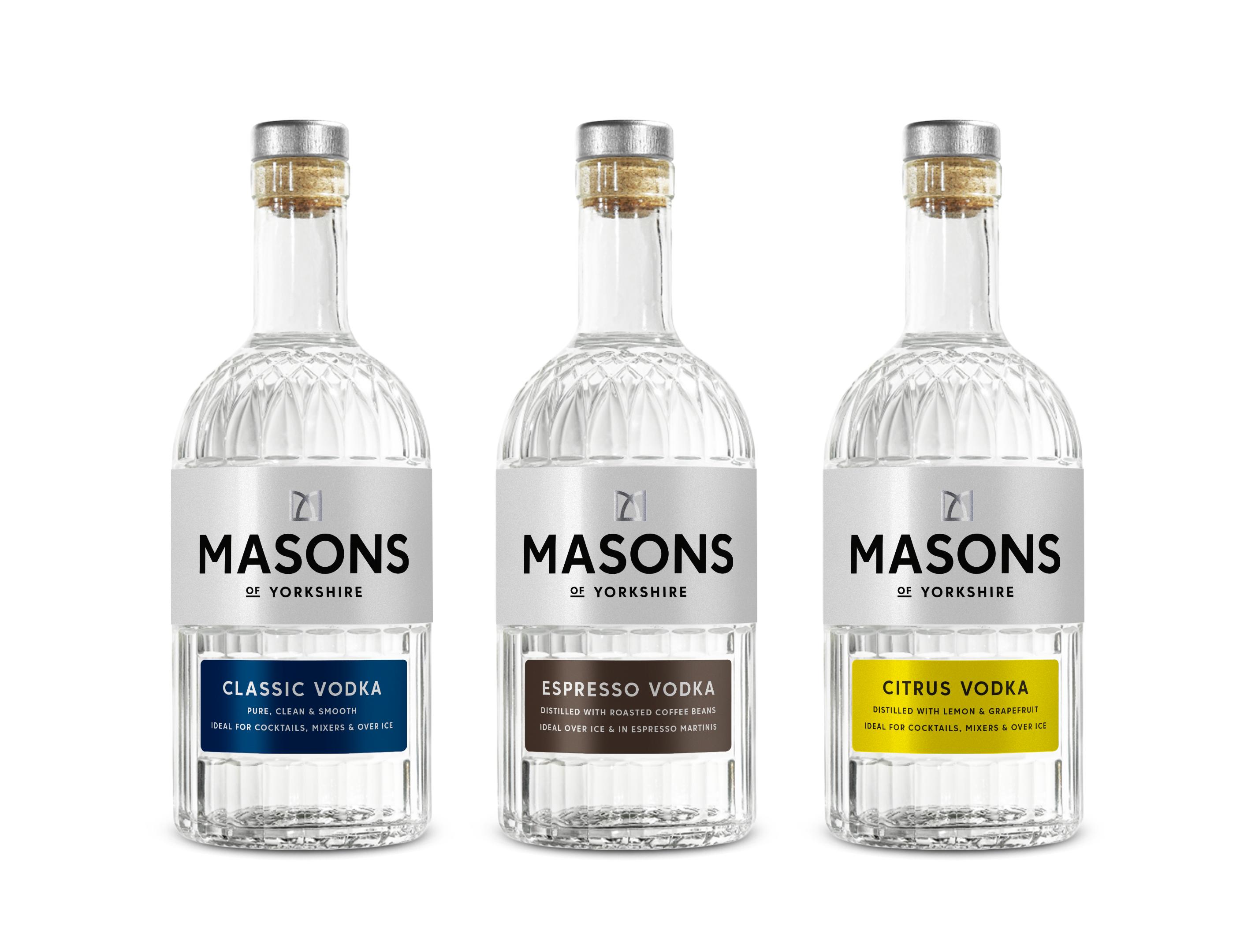 Masons of Yorkshire Classic, Espresso and Citrus Vodkas